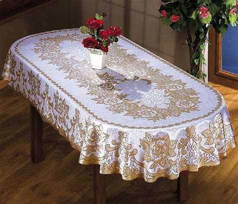 large oval tablecloth two sizes cream beige floral