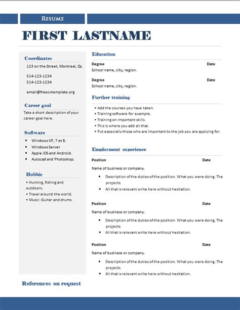 resume templates exles 2014 free cv templates 289 to 295 free cv template dot org