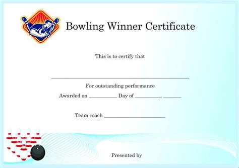bowling certificate template winner certificate template 40 word templates for