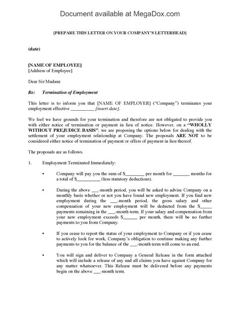 termination letter template ontario employment termination letter with settlement