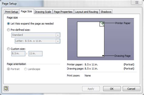 visio set page size printing options mad visio
