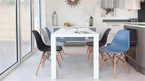 Eames Chairs And White Gloss 6 Seater Dining Set Danetti Uk Eames Chair Dining Room