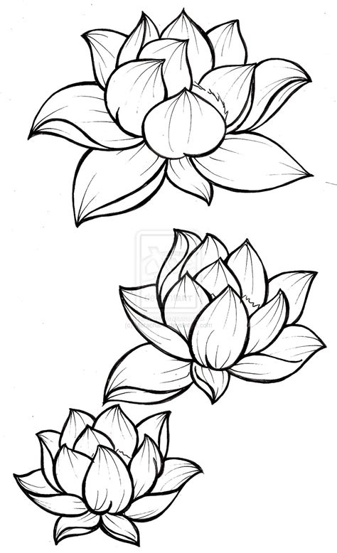 flower tattoo outline designs lotus blossom tattoos on