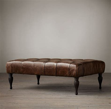 leather rectangular ottoman coffee table restoration hardware 48 quot bennett rectangular leather