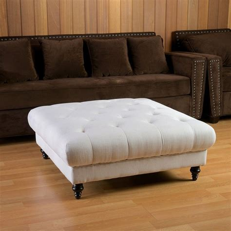 Living Room Ottoman Coffee Table White Square Tufted Leather Ottoman Coffee Table With Wooden Legs For Living Room With Brown