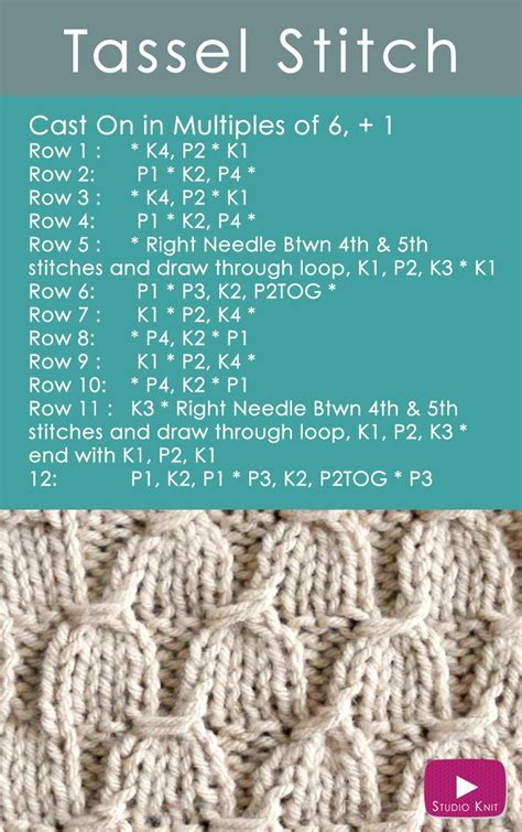 knitting pattern video tutorial learn how to knit the tassel stitch pattern receive easy