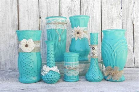 Turquoise Vases For Wedding by Burlap And Lace Rustic Set Of Turquoise Vases Vase
