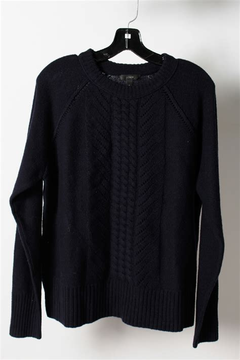 j crew cable knit sweater nwt 95 j crew navy blue wool crewneck cable knit sweater
