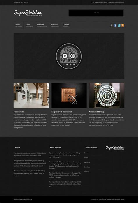 skeleton responsive template template 7 th 232 mes avec un webdesign