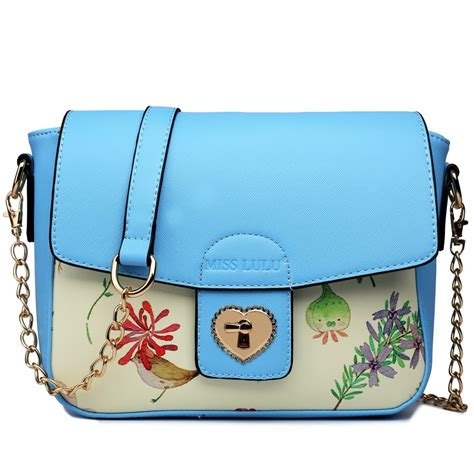 Chains Printed Satchel Blue lg1636 miss lulu leather style floral print small cross