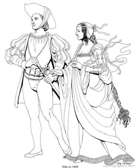 renaissance dress coloring page renaissance costumes and clothing coloring pages 4