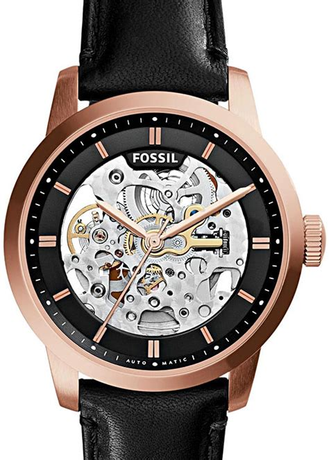 Fossil Me3085 Black Leather new fossil mechanical watches these skeletons to