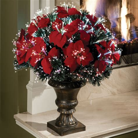 the 2 fiber optic tabletop poinsettia bush hammacher