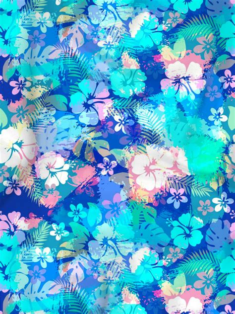 Abstract Flowers blue abstract flowers fabric print designer s