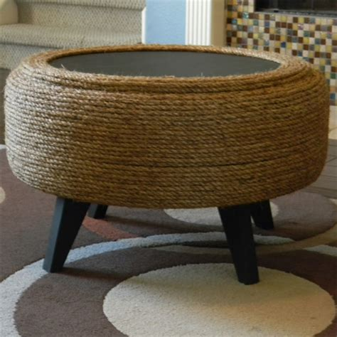 tyre ottoman home dzine craft ideas make an ottoman from a tyre and rope