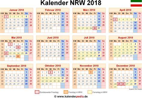 Kalender 2018 Mit Ferien Nrw Kalender 2018 Nrw Ferien Feiertage Excel Vorlagen