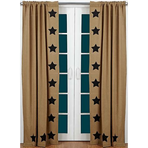 primitive star curtains burlap black star curtain panels drapes primitive country