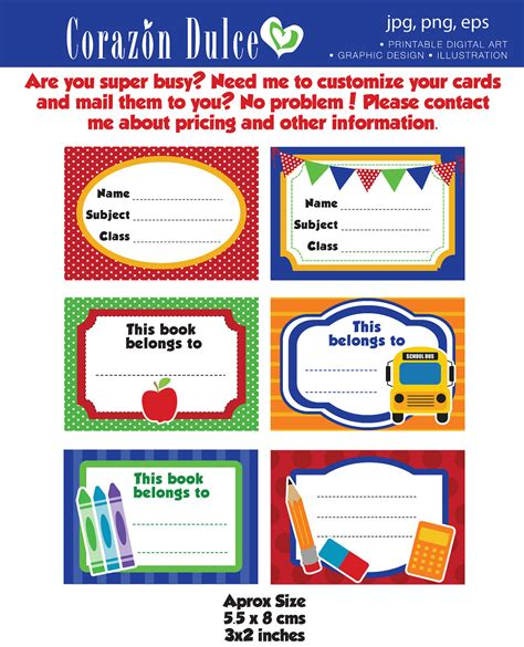 book label template free back to school labels printable school labels tags book