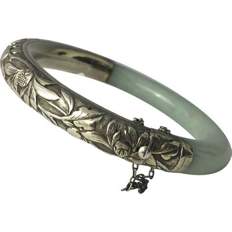 Vintage Chinese Repousse Silver & Jade Bangle Bracelet from parkavenueantiques on Ruby Lane