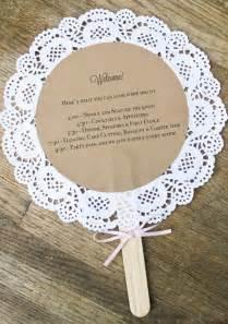 Handmade Wedding Decor - doily wedding program fans custom vintage inspired