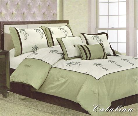 7 pieces king size comforter set catalina palm tree sage