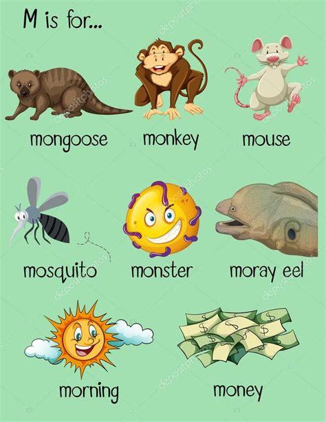 letra m palabras que comienzan por m letra m min 250 scula muchas palabras comienzan con la letra m vector de stock