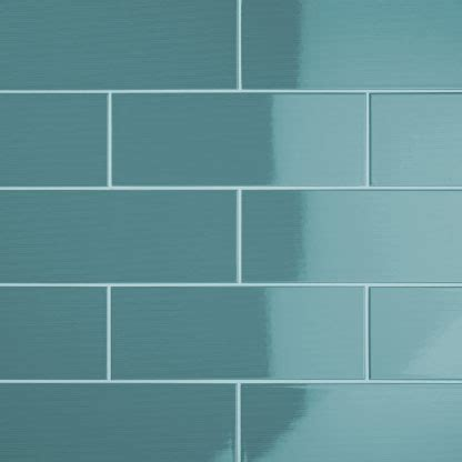 Johnson VVD8A Vivid Teal Gloss Brick Ceramic Wall Tile
