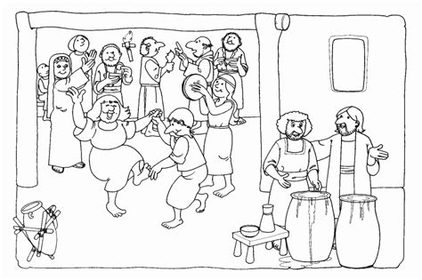 coloring pages jesus first miracle the wedding at cana children s church bible coloring