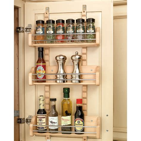 Shop Rev A Shelf Wood In Cabinet Spice Rack At Lowes Com Kitchen Cabinet Door Storage Racks