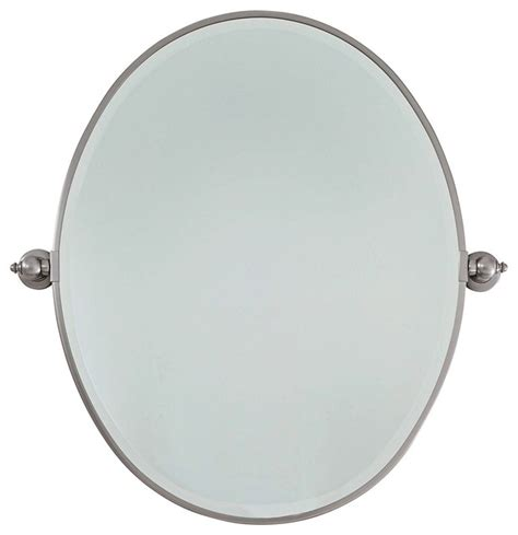brushed nickel bathroom mirrors feiss brushed nickel plated steel 25 quot wide oval wall