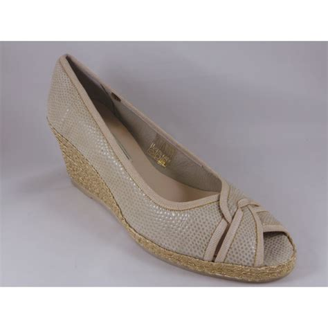 beige leather suede peep toe wedge shoe from