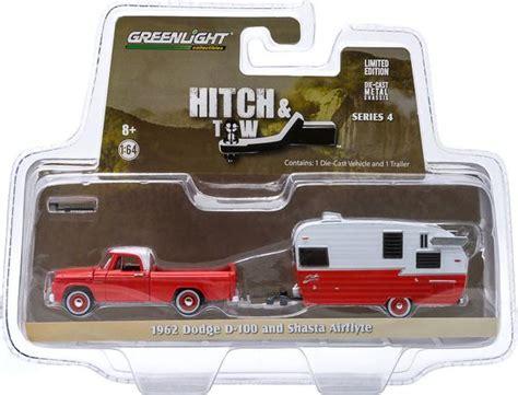 greenlight 1 64 hitch tow series 4 1962 dodge d 100 and shasta 15 daboxtoys model cars dmc