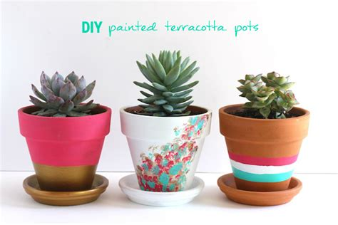modern mini painted plant pots diy painted terracotta pots pinlavie com