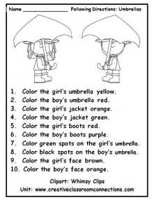 following directions with color words is a fun practice