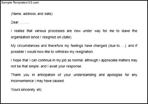Withdrawal Letter Format Resignation Withdrawal Letter Exle Sle Templates