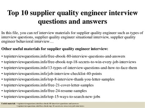 Aerospace Quality Engineer by Top 10 Supplier Quality Engineer Questions And Answers