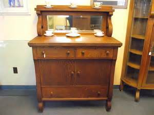 Antique empire tiger oak buffet sideboard server cabinet with mirror