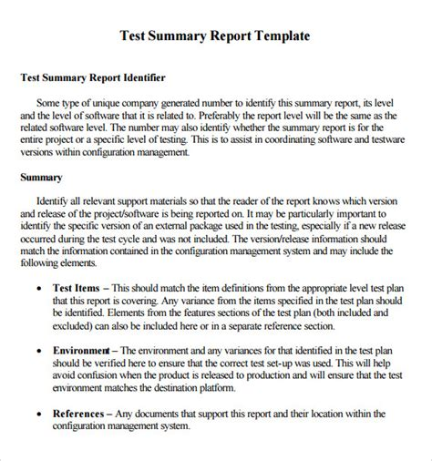 report template format sle summary report template 7 free documents in pdf