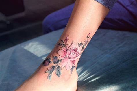 ankle rose tattoo pink flower on the right inner arm tattoogrid net