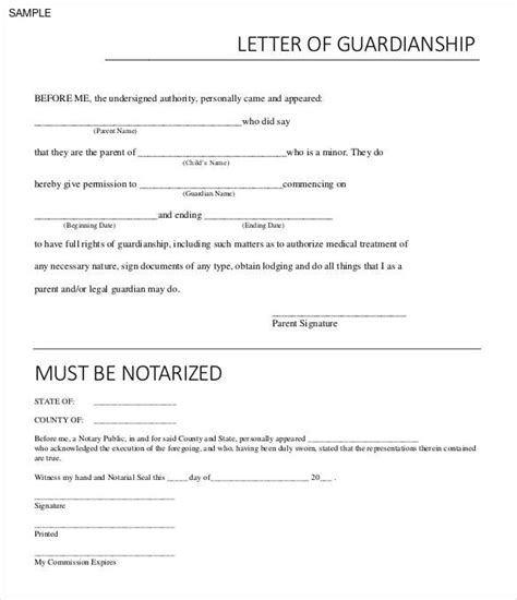 Custody Letter Exle Sle Temporary Notarized For Guardianship Template Printable Ready Template For Temporary Child Custody