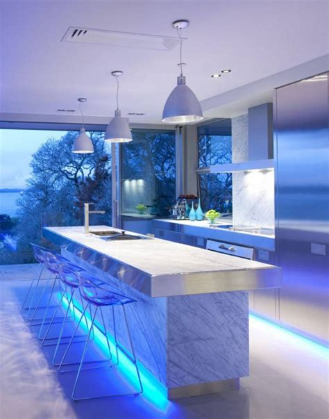 ultra modern kitchen design with led lighting fixtures iroonie