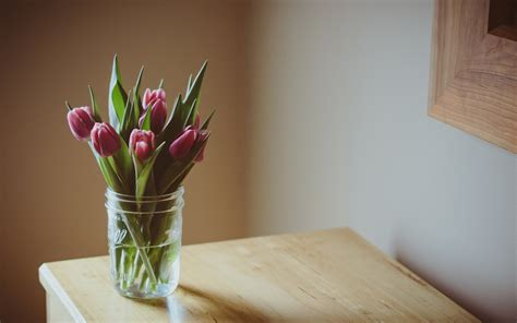 Table Flower Vase by Flower Flowers Flower Purple Tulips Flower Leaves Vase