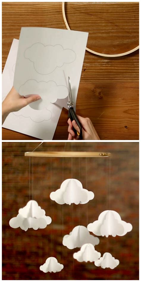 How To Make A Paper Cloud - inexpensive diy cloud mobile weekday crafternoon hgtv
