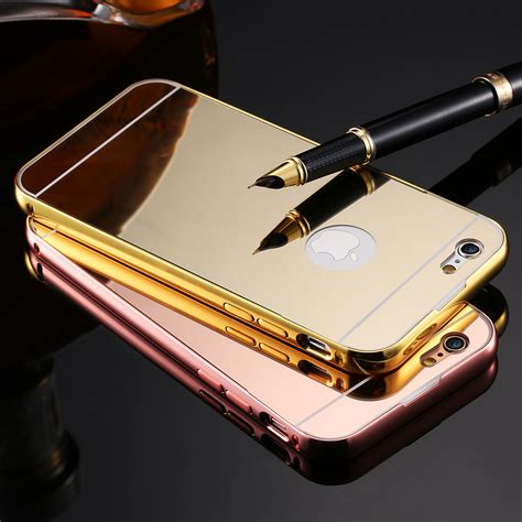 Iphone 6 6s Metal Cover Bumper Mirror Hardcase aliexpress buy mirror for iphone 6 6s aluminum frame pc plating back cover for