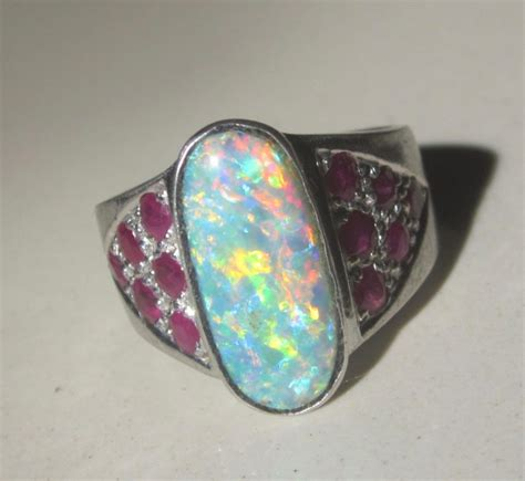 Handmade Gemstone Jewellery Australia - ring opals with only australian opal gemstones guaranteed