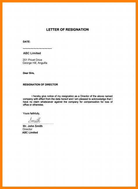Exles Of Resign Letter by 5 Resignation Letter Sle Uae Format Of Notice