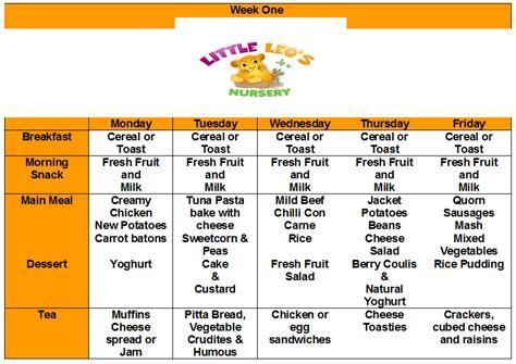 healthy eating menu little leo s nursery