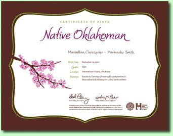 Oklahoma Vital Records Certificate Birth Certificates Oklahoma State Department Of Health