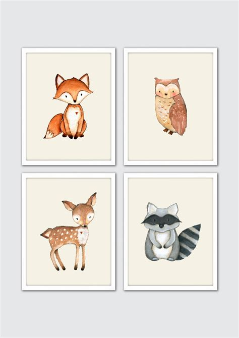 Woodland Animal Nursery Decor Woodland Creatures Nursery Print Set Watercolor Forest