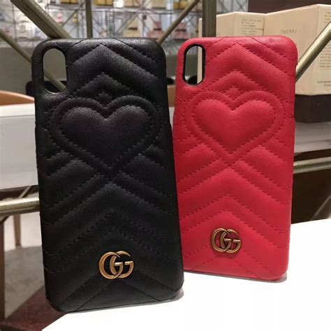 gucci leather heart phone case cover  iphone xs max